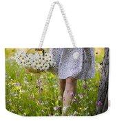 Woman Picking Flowers In A Wild Flower Meadow Weekender Tote Bag
