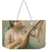 Woman Playing A String Instrument Weekender Tote Bag