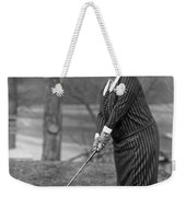 Woman Ready To Play Golf Weekender Tote Bag