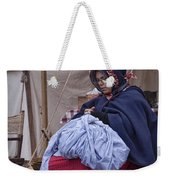 Woman Reenactor Sewing In A Civil War Camp Weekender Tote Bag