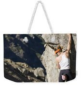 Woman Rock Climbing, India Weekender Tote Bag