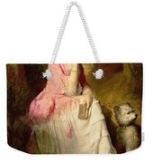Woman Seated In A Forest Glade Weekender Tote Bag