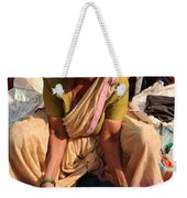 Woman Sifting In A Street Market India Weekender Tote Bag