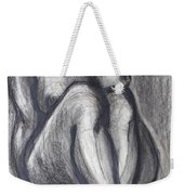 Woman Sitting On Round Chair - Female Nude Weekender Tote Bag