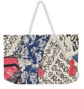 Woman Surrounded By Calligraphy Weekender Tote Bag