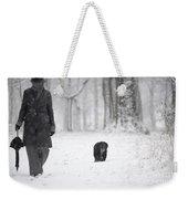 Woman Walking In The Snowy Forest Weekender Tote Bag