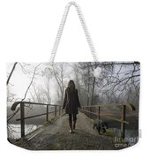 Woman Walking With Her Dog On A Bridge Weekender Tote Bag