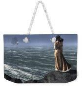Woman Watching A Ship Sailing Away Weekender Tote Bag