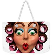 Woman Wearing Curlers Weekender Tote Bag