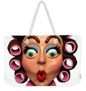Woman Wearing Curlers Weekender Tote Bag by Amy Vangsgard
