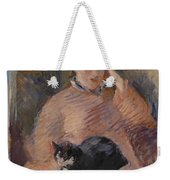 Woman With A Cat Weekender Tote Bag