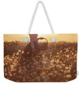 Woman With A Wicker Basket At Sunset Weekender Tote Bag