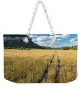 Woman With Daughter Riding Mountain Weekender Tote Bag