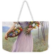 Woman With Flowers Weekender Tote Bag