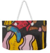 Woman With Head Tie And Bangles On Her Wrist Stirring The Wheat Corn On A Bowl Weekender Tote Bag