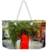 Woman With Ker Leaves India Rajasthan Jaisalmer Weekender Tote Bag