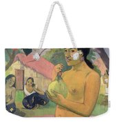 Woman With Mango Weekender Tote Bag