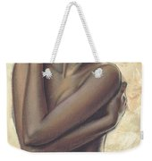 Woman With White Drape Crop Weekender Tote Bag by Zorina Baldescu
