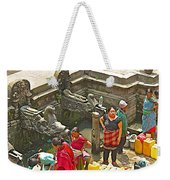 Women Get Bagmati River Holy Water From Ornate Fountains In Patan Durbar Square In Lalitpur-nepal  Weekender Tote Bag