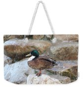 Wood Duck On Fountain Weekender Tote Bag