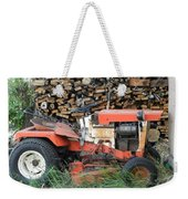 Wood Pile And Lawn Tractor Weekender Tote Bag