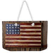 Wooden American Flag On Wood Wall Weekender Tote Bag