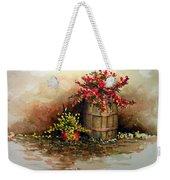 Wooden Barrel With Flowers Weekender Tote Bag