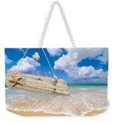 Wooden Beach Sign Algarve Portugal Weekender Tote Bag by Amanda Elwell
