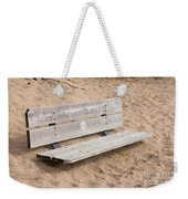 Wooden Bench Burried In The Sand Weekender Tote Bag