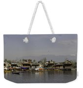 Wooden Boats Shikaras And Houseboats In The Dal Lake In Srinagar Weekender Tote Bag