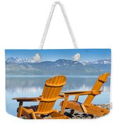 Wooden Deckchairs Overlooking Scenic Lake Laberge Weekender Tote Bag