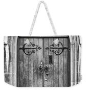 Wooden Door At Tower Hill Bw Weekender Tote Bag by Christi Kraft