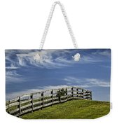 Wooden Farm Fence On Crest Of A Hill Weekender Tote Bag
