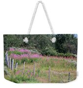 Wooden Fence And Pink Fireweed In Norway Weekender Tote Bag