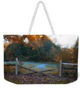 Wooden Fence In Autumn Weekender Tote Bag