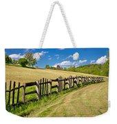 Wooden Fence In Green Landscape Weekender Tote Bag