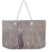 Wooden Fence Post On A Foggy Winter Day Weekender Tote Bag