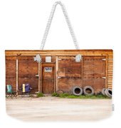Wooden Gate Of Rural Timber Building Closed Sign Weekender Tote Bag