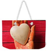 Wooden Hand With White Heart Weekender Tote Bag by Garry Gay