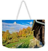 Wooden Lodge In Autumn Mountain Nature Weekender Tote Bag