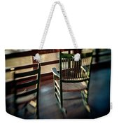 Wooden Rocking Chairs On A Deck Weekender Tote Bag