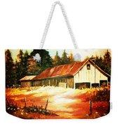 Woodland Barn In Autumn Weekender Tote Bag