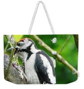Woodpecker Swallowing A Cherry  Weekender Tote Bag