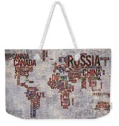 World Map Typography Artwork Weekender Tote Bag