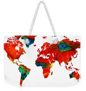 World Map 12 - Colorful Red Map By Sharon Cummings Weekender Tote Bag