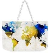 World Map 16 - Yellow And Blue Art By Sharon Cummings Weekender Tote Bag by Sharon Cummings