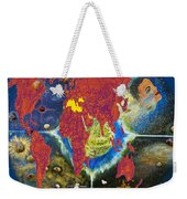 World Map And Barack Obama Stars Weekender Tote Bag by Augusta Stylianou