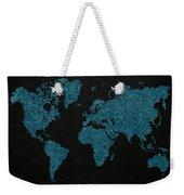 World Map Blue Vintage Fabric On Dark Leather Weekender Tote Bag