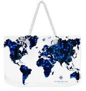 World Map In Blue Lights Weekender Tote Bag