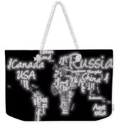 World Map In Text Neon Light Weekender Tote Bag
